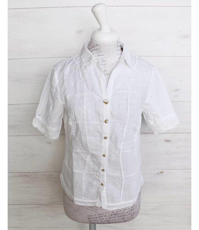 Elisa Cavaletti Short linen blouse white