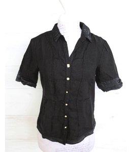 Elisa Cavaletti Short linen blouse black