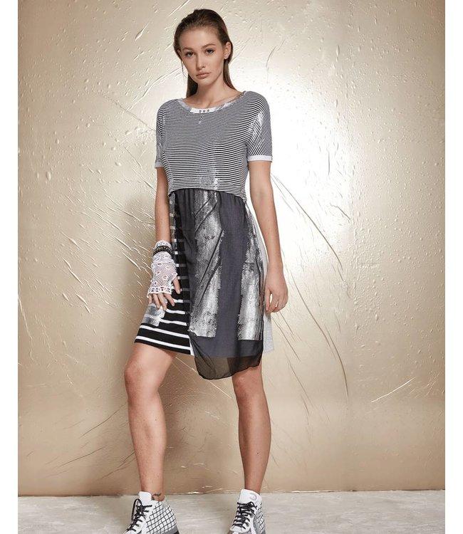 Elisa Cavaletti Dress black-white stripes