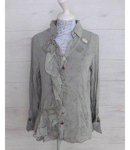 Elisa Cavaletti Romantische Bluse silbergrau verwaschen