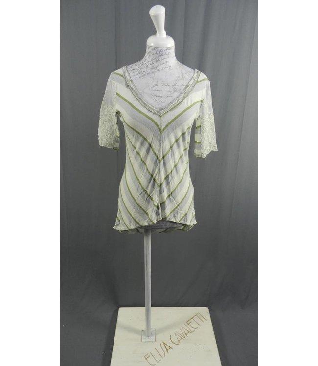 Elisa Cavaletti Shirt écru-grün-hellblau