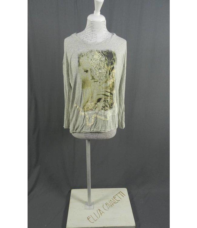 Elly Italia Shirt grau-weiss bedruckt