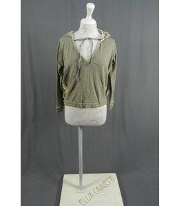 Elly Italia Kurz-Pullover taupe mit Kaputze und Spitzenstoff