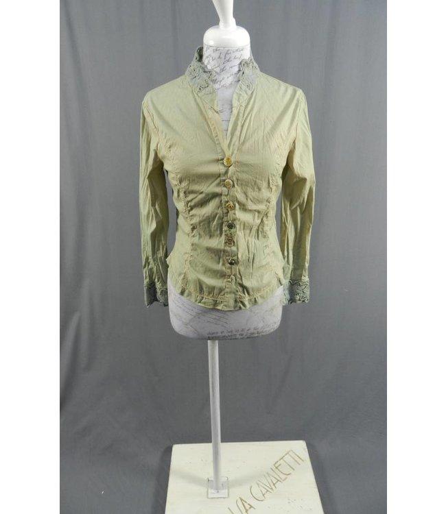 Elisa Cavaletti Kurz-Bluse grün-beige verwaschen
