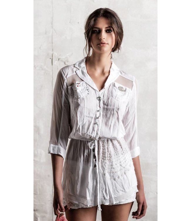 Elly Italia Lange Bluse weiss
