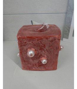 ArtePura Kerze Würfel rot mit Perlen