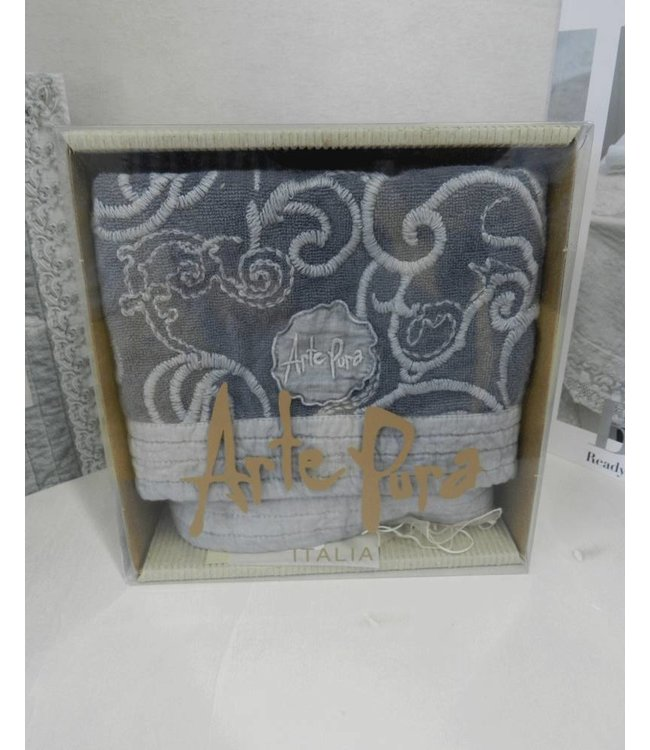ArtePura zwei kleine Handtücher blau-grau bestickt