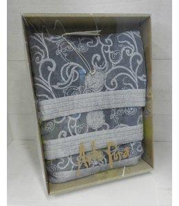 ArtePura Set Badetuch, Gästetuch und Handtuch blau-grau bestickt