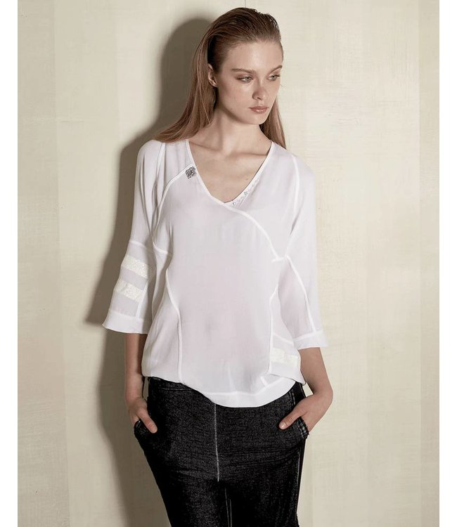 Elisa Cavaletti Weisses 3/4 Arm Shirt