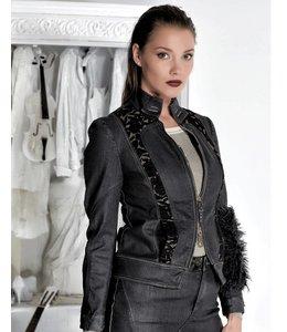 Elisa Cavaletti Short denim jacket faded black