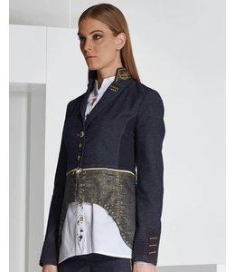 Elisa Cavaletti Denim jacket dark blue and gold