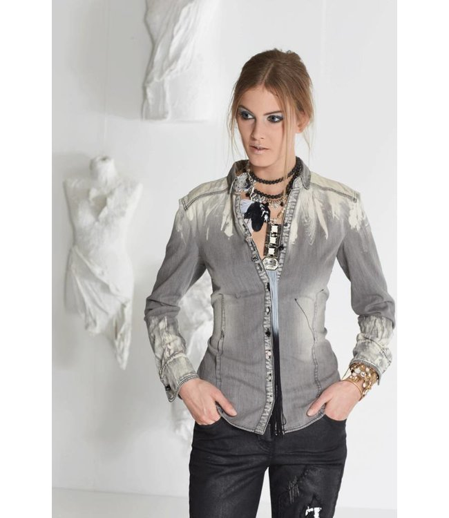 Elisa Cavaletti Short faded denim blouse grey