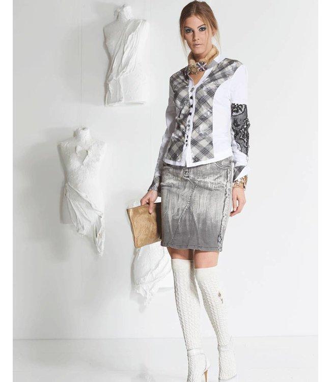 Elisa Cavaletti Denim mini-skirt faded grey