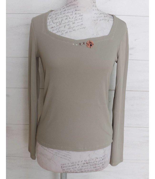 Elisa Cavaletti Basic long-sleeved shirt taupe
