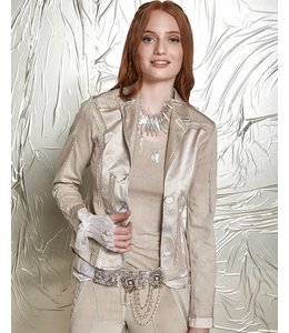Elisa Cavaletti Short denim jacket taupe