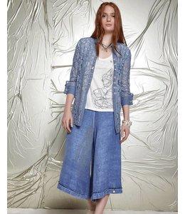 Elisa Cavaletti Long chemisier blue-jean en dentelle