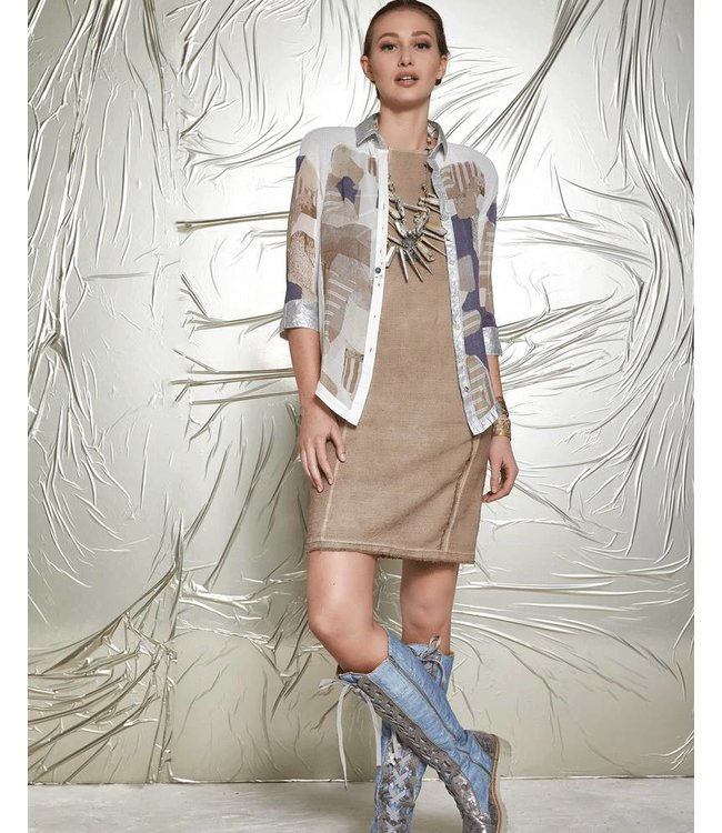 Elisa Cavaletti Ecru blouse with printed design