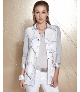 Elisa Cavaletti Bluse weiss-grau