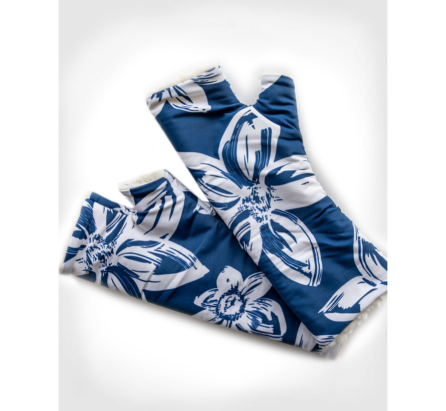 fingerless gloves - Blue Flower