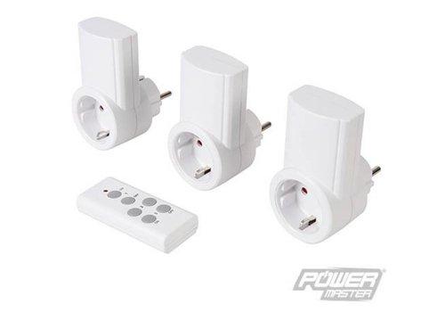 PowerMaster Stopcontact met draadloze afstandsbediening, 3 pk.