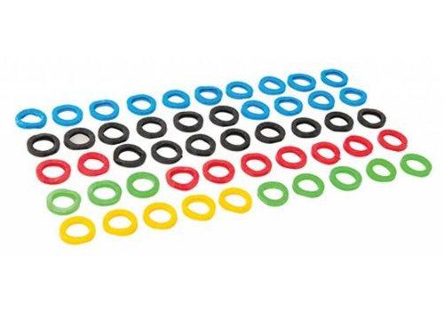 Silverline Gekleurde plastic sleutelhoesjes, 50 pk.