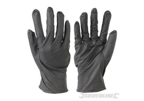 Silverline Nitril wegwerphandschoenen poedervrij, 100 pk. Zwart, M