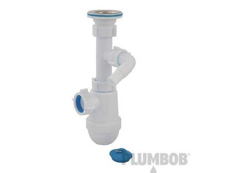 Plumbob Telescopische bekersifon met afvoer en wasmachine uitlaat  40 mm