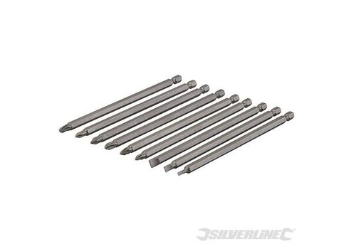 Silverline Extra lange schroevendraaier bit set 9 st