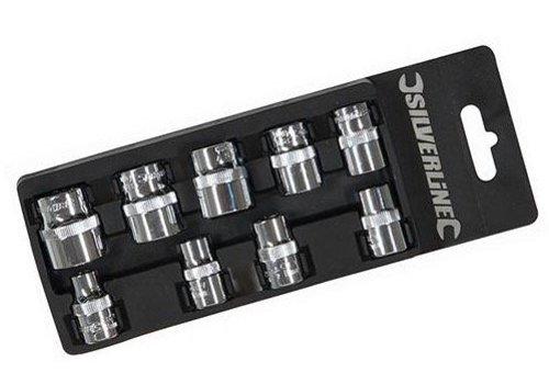 Silverline 3/8 metrische doppen set 9 st. 8 - 19 mm