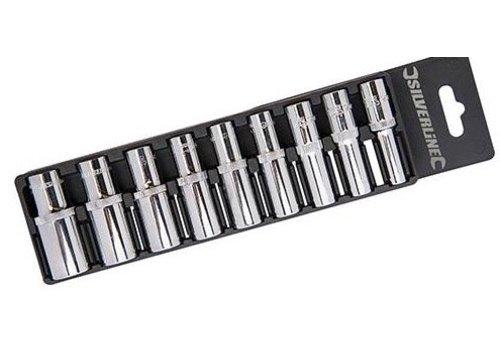 """Silverline 9-delige 3/8"""" metrische diepe doppen set 8 - 19 mm"""