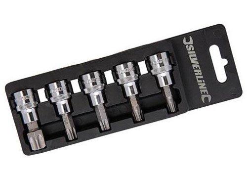 """Silverline 5-delige 3/8"""" Trx doppen set T40 - T60"""
