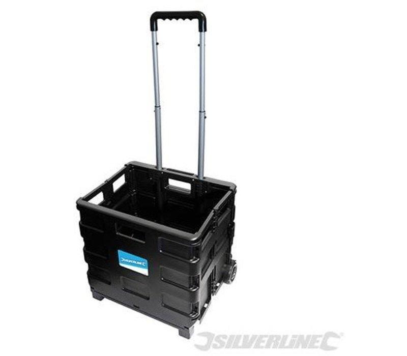 Inklapbare trolley met krat 25kg