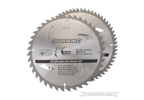 Silverline TCT Cirkelzaag bladen 2 pk 300mm 60 tanden