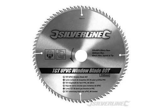 Silverline TCT UPVC frame cirkelzaagblad, 80 tanden 250 x 30 - 25,20 en 16 mm ringen