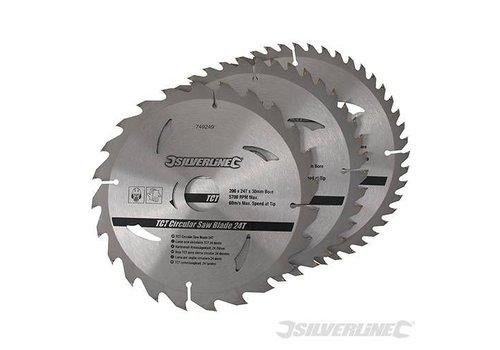 Silverline TCT Cirkelzaag bladen 3 pk van 200 tot 235mm