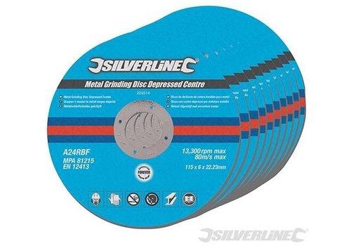 Silverline Metaal slijpschijven met verzonken center, 10 pk. 115mm
