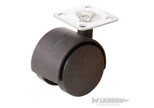 FIXMAN Dubbel zwenkwiel, 4 pk. 38 mm plaat