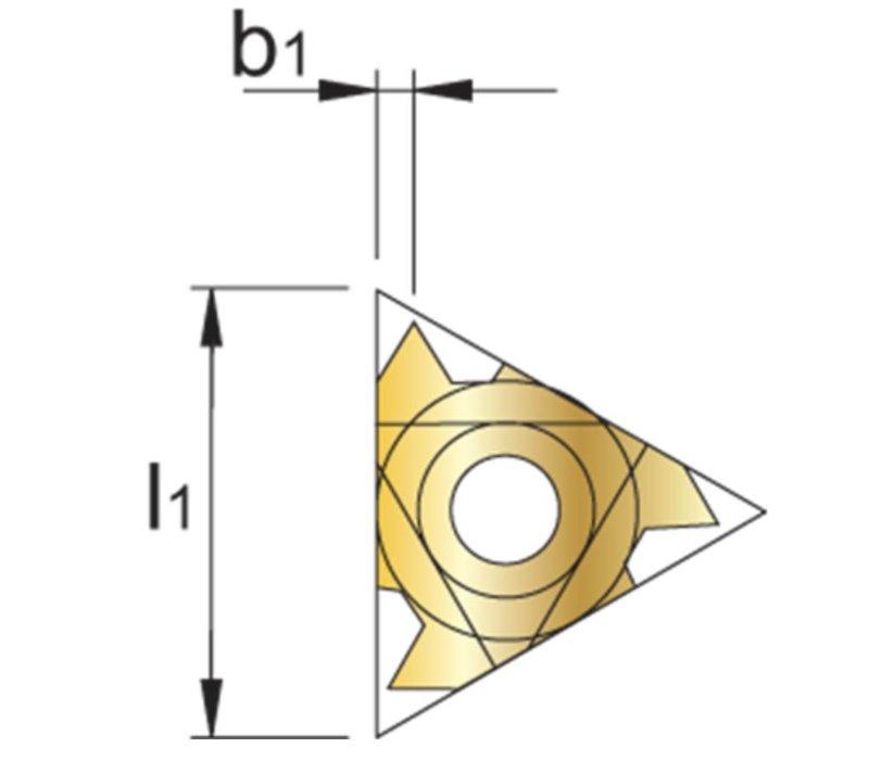 Draadsnijwisselplaat IR, 60°, deelprofiel, inwendig Artikelgroep 74.155