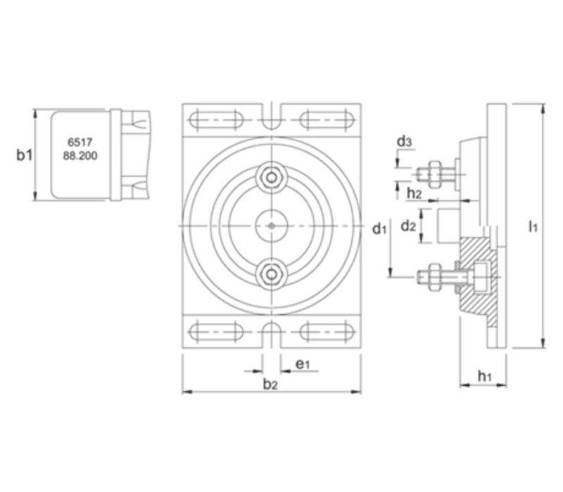 Draaiplaat, type 6587, met gradenverdeling, voor snelspanmachineklem 88.200 Artikelgroep 88.205