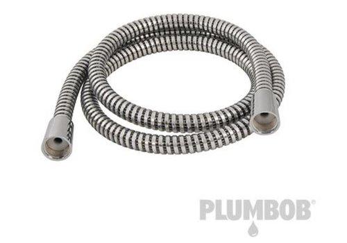 Silverline Gegolfde PVC-doucheslang, zwart/zilver