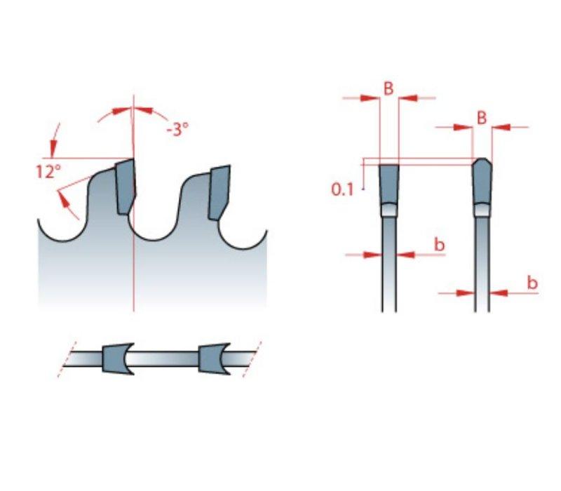 HM ZAAGBLAD MET DAKHOL TAND VOOR PLAAT MATERIAAL 250X3,2/2,2x30xZ=48 DH