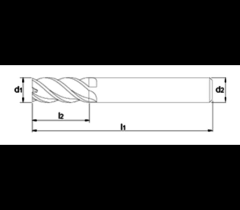 VHM Vari-frees, 4-snijder lang, AlTiN-X, snijkantradius, roestvaststaal Artikelgroep 34.272