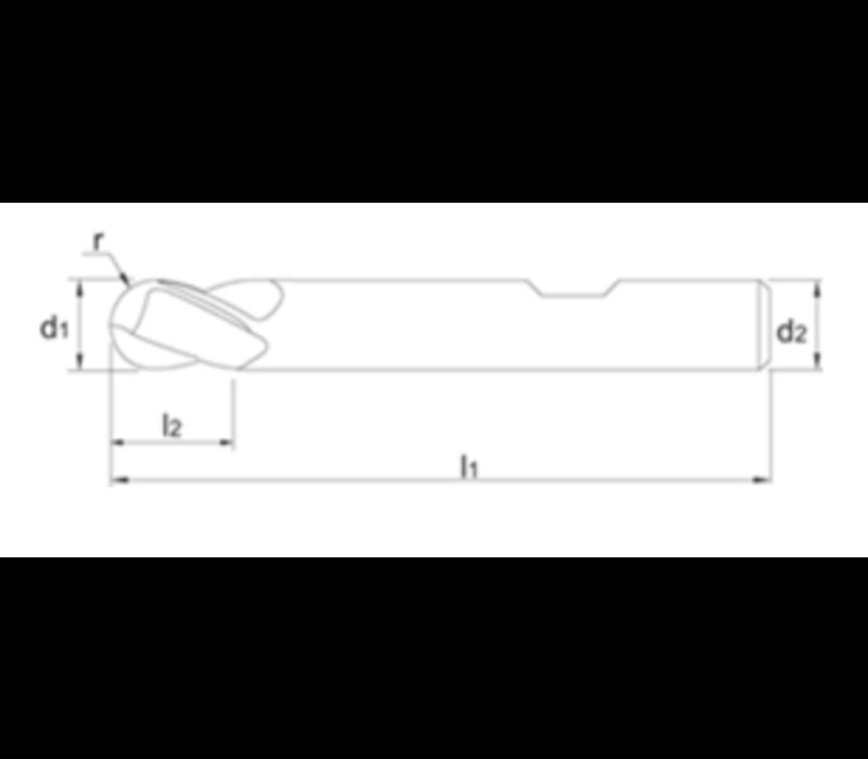 VHM Radiusfrees, 2-snijder AlTiN-X, DIN 6527, kort Artikelgroep 36.244