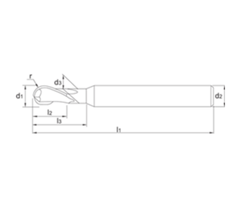 VHM Precisie HSC Radiusfrees, 2-snijder TiAlN-B, 45-70 HRc Artikelgroep 36.275