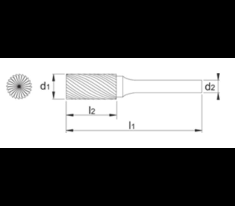HM Stiftfrees model B, cilindrisch met kopvertanding, schacht 8 mm  Artikelgroep 41.528