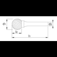 HM Stiftfrees model D, kogelvorm, schacht 3 mm Artikelgroep 41.543