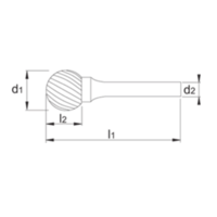 HM Stiftfrees model D, kogelvorm, schacht 8 mm Artikelgroep 41.548