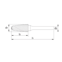 HM Stiftfrees model F, boomvorm met ronde kop, schacht 8 mm Artikelgroep 41.568