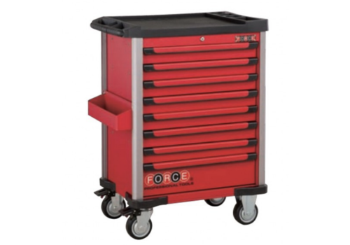 Force Red 8-drawer trolley with 286pc tools