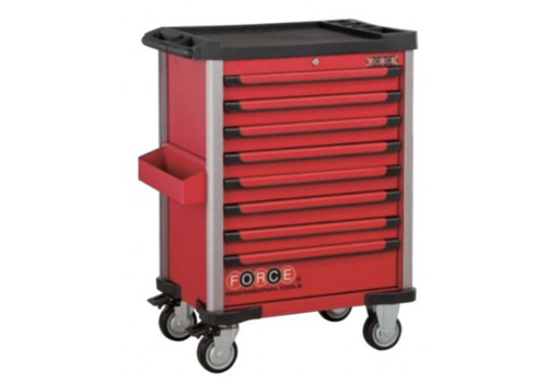 Force Red 8-drawer trolley with 376pc tools